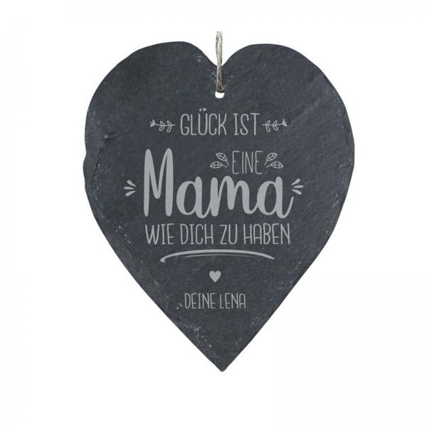 """Personalisierbares Schieferherz: """"Gück ist eine Mama wie Dich zu haben"""" (23x27cm)personalisiert"""