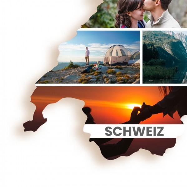 Ausschnitt 1: Länderumriss der Schweiz als Foto-Collage personalisierbar