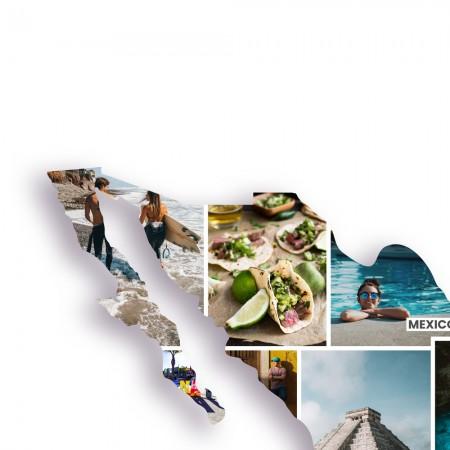 Ausschnitt 2: Länderumriss von Mexiko als Foto-Collage personalisierbar