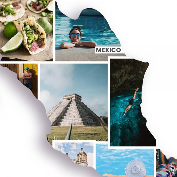 Ausschnitt 1: Länderumriss von Mexiko als Foto-Collage personalisierbar