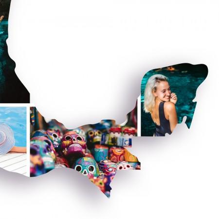 Ausschnitt 3: Länderumriss von Mexiko als Foto-Collage personalisierbar