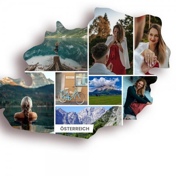 Ausschnitt 1: Länderumriss von Österreich als Foto-Collage personalisierbar