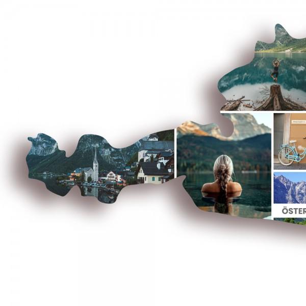 Ausschnitt 2: Länderumriss von Österreich als Foto-Collage personalisierbar
