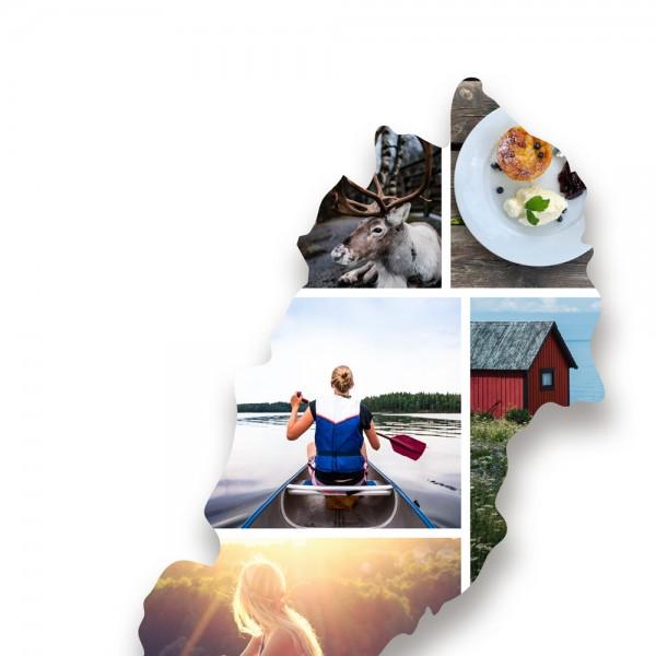 Ausschnitt 1: Länderumriss von Schweden als Foto-Collage personalisierbar