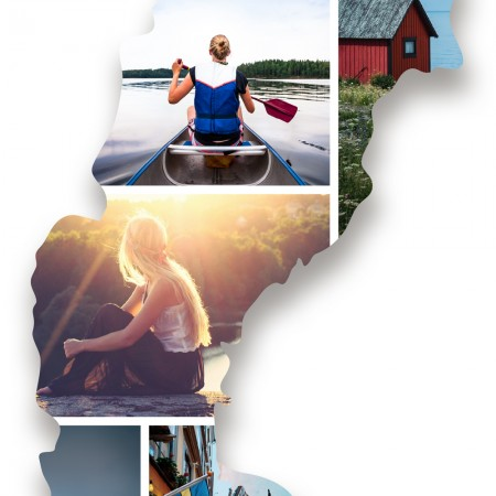 Ausschnitt 2: Länderumriss von Schweden als Foto-Collage personalisierbar