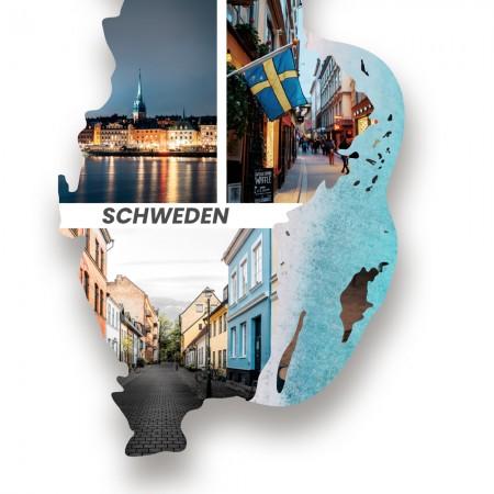 Ausschnitt 3: Länderumriss von Schweden als Foto-Collage personalisierbar